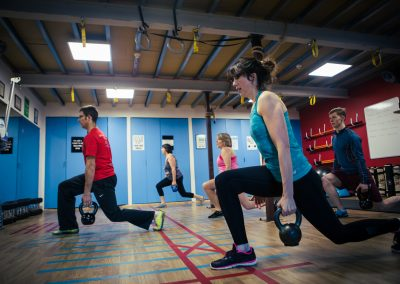 using kettle bells to improve stability in a group training session